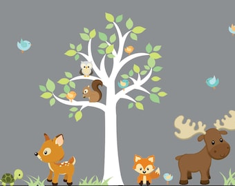 Wall Decals Vinyl Wall Decal Sticker-Forest Animals,woodland animal decals-baby wall art-nursery wall art-vinyl wall decals-fox,moose,deer