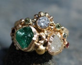Raw Emerald, Gemstone, Rough and Cut Diamond Recycled Gold Stacking Ring Set- Two Custom Made Rings