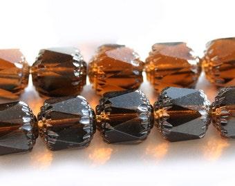 Czech Glass beads Smokey Topaz cathedral beads large, dark topaz beads - 10mm - 10Pc - 0126