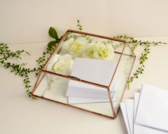 Large Glass Box Wedding Card Box Clear Glass Jewelry Box Truncated Pyramid Box