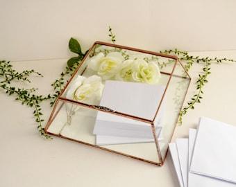 Large Glass Box Wedding Card Box Clear Glass Jewelry Box Truncated Pyramid Box