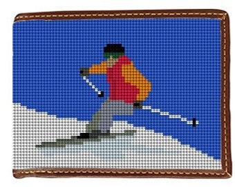 Skiing Needlepoint Wallet Canvas