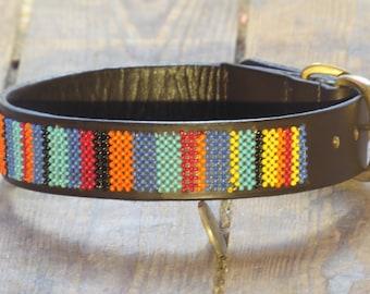 African Sunset Beaded Dog collar (Size: M)
