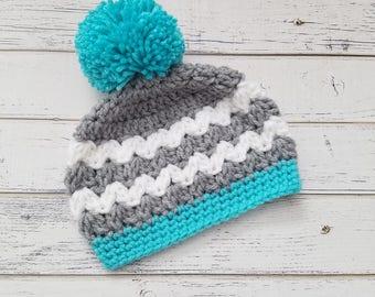 Girls Hat, Crochet Girl Hat, Pom Pom Hat, Newborn Girl Hat, Baby Girl, Baby Pom Pom Hat, Pom Pom Beanie, Crochet Hats for Girls, READY2SHIP