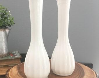 Milk Glass Bud Vases, set of 2