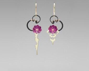 Pink Swarovski Crystal Earrings, Steampunk Earrings, Fuchsia Crystal, Swarovski Jewelry, Wire Wrapped Jewelry, Clock Hands, Hemera II v8