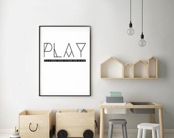 PLAY- Modern Home Decor Print- Black and White