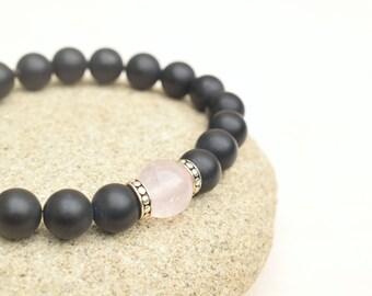 Black agate bracelet, Yoga bracelet, Rose quartz jewelry,  Matte black bracelet, Gemstone bracelet, Silver bracelet, Rose quartz bracelet