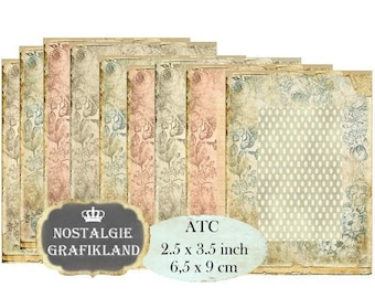 Floral Background Vintage Shabby Chic ATC Instant Download digital collage sheet S184 Aceo Flowers Roses