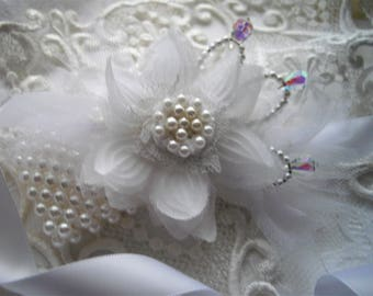 Bridal Wrist Corsage One Size Fits All White Organza Crystals Pearls Sash Clutch Pin Rehearsal Dinner Handmade by handcraftusa Etsy