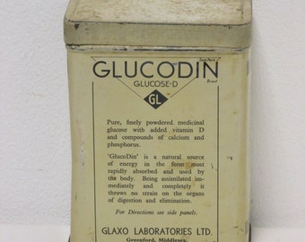Vintage Glucodin Glucose-D Medicinal Glucose and Vitamins Black and White Lidded Tin