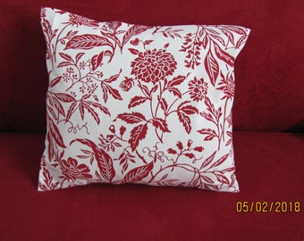 "Deep Red and Off White 16 x16"" Pillow Cover"