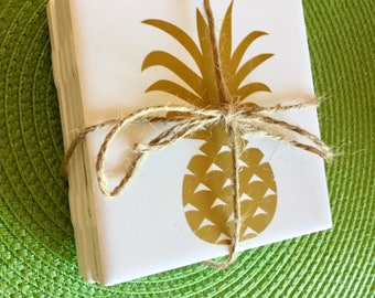 Golden Pineapple Tile Coasters (set of 4)