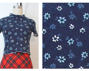 Blue Daisy Floral 90s Inspired Crop Top Summer