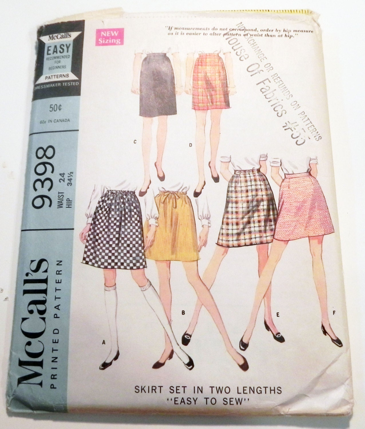 1960S A line Slim Skirt Easy to Sew drawstring waist darted sewing ...