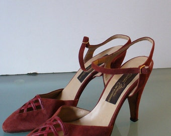 Vintage Made in Italy Sesto Meucci Suede Ankle Strap Shoes Size 5.5B US