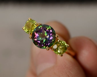 Mystic Topaz Ring Three Stone Ring Yellow Gold Plated Silver Ring