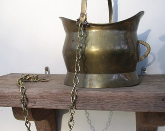 Vintage Brass Hanging Pitcher Pot Plant Holder Vintage Home and Living Home Decor Vintage Brass Hanging Home or Office Planter Decor