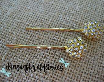Hair Pins, Rhinestones, Gold Tone, Wedding, BridesmaidsGift for Her  ,  {101}