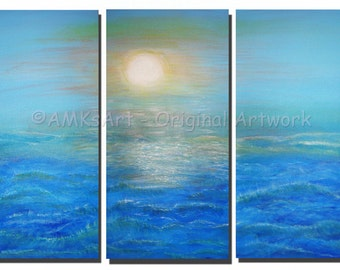 "ROUGH SEA - Original Ocean Painting - Acrylic Triptych Art on Canvas  20"" x 30"" x 1 1/2""  Gallery Wrapped"