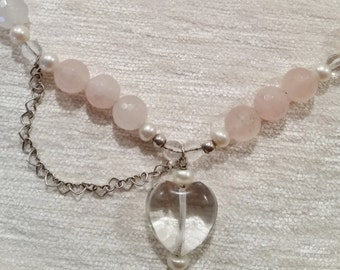 Rose Quartz gemstone necklace, Heart Pendant tiny heart chain