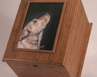Pet urn, pet memorial box ,cherry wood,  large pet urn, custom portrait of pet, pet cremains,
