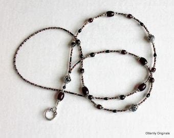 Gothic, Deep Purple, Black, Silver, Beaded Lanyard, Eyeglass holder, necklace, Otterlily Originals LAN0119