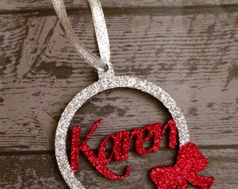Personalised Wooden Christmas Tree Bauble With Name & Bow  Decoration Glitter Sparkle Prince Princess Unique Bespoke Festive