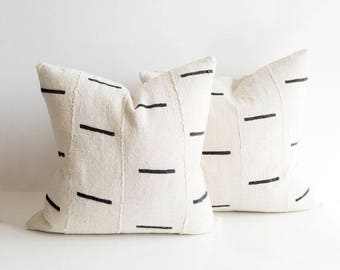 Mudcloth Pillow Cover | Black Dash | Various Sizes