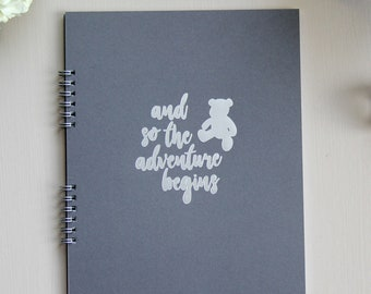 """Fast Shipping > Baby Shower Guest Book Baby Shower Advice Book. 9.25"""" x 7.5"""" Flatlay. Grey w/ Silver Foil Baby Memory Book Baby Shower Gift."""