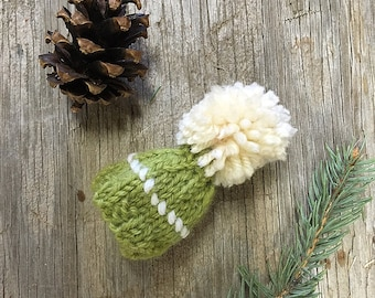 Green Miniature Knit Hat- Olive, Chartreuse, Lime- Hand Knit- Mini Cap- Egg Cozy- Ornament- Gift Topper, Doll Hat, Pet, Bear