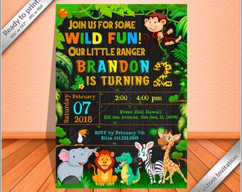 Jungle invitations Etsy