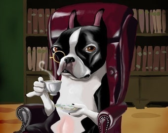 Boston Terrier Having a Spot of Tea, Boston Terrier gift, wall decor dog art print
