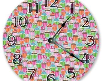 "10.5"" CUPCAKES Clock - Large 10.5"" Wall Clock - Kitchen Clock - Round Clock - Food Wall Clock - Pastry Clock - Home Decor - 3063"