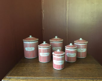SALE- Vintage Set of 6 French Enamel Canister Set- Red & White Nesting, Graduated Canisters Chippy Enamelware French Country Decor