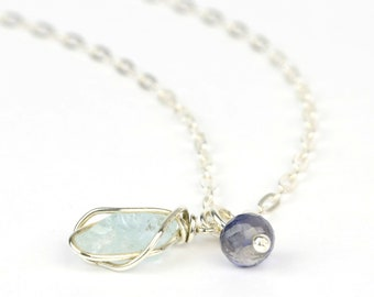 Aquamarine necklace, raw aquamarine, faceted iolite bead on sterling silver hammered chain, wire wrapped blue gemstone, January birthstone
