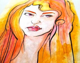 Uhm, No - Portrait Art - Mixed Media - 8 x 10 Watercolor Paper