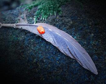 Feathercraft - Citrine Adorned Feather Pendant