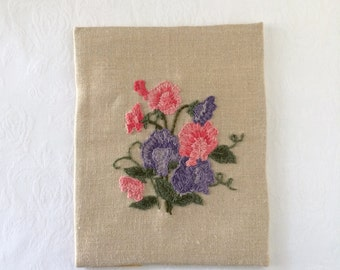 Crewel Flower Vintage Embroidery Needlework Wall Hanging