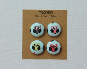Fabric Covered Button Magnets / Little Owl Magnets / Owl Magnets / Strong Magnets / Refrigerator Magnets / Fridge Magnets