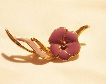 Faux Gold Purple Flower Broach