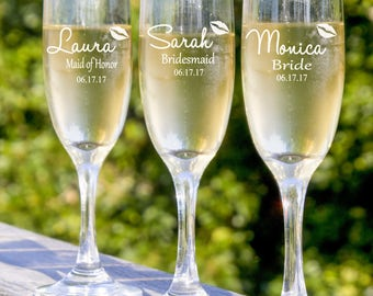 Bridesmaids Gifts, Bridesmaid Champagne Glasses, Personalized Wedding Party Gift, Set of 3 Wedding Toast Glasses,  Maid of Honor Gift