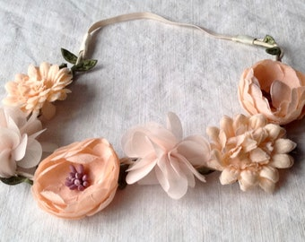 Vintage Millinery Flowers Tiara / Peach Blush Ranusculus, Calendula & Hydrangeas Head Dress, Vintage Wedding Summer Party