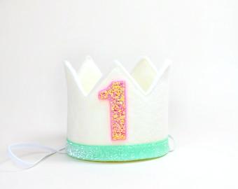 Birthday Crown    First Birthday Crown    1st Birthday Crown    Girl Birthday Crown    Little  Blue Olive    White Felt + Coral Glitter