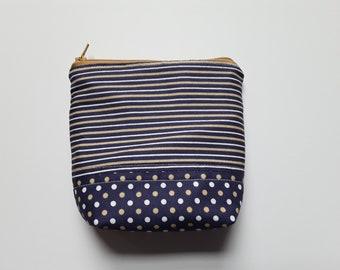 Essential Oil Bag / Essential Oil Travel Bag / Essential Oil Pouch / Essential Oil Clutch / Blue & Gold Stripes / Holds 5 Oil Bottles