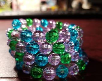 Purple, Blue, & Green 8mm Rondelle Beaded 4 Wrap Memory Wire Bracelet