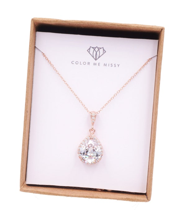 Rose Gold Luxe Cubic Zirconia Teardrop Necklace - Luxe Necklace, rose gold weddings brides bridesmaid bridal shower gifts, crystal - N42