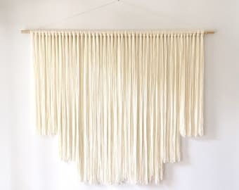Very Large Ivory White Modern Bohemian Yarn Wall Hanging