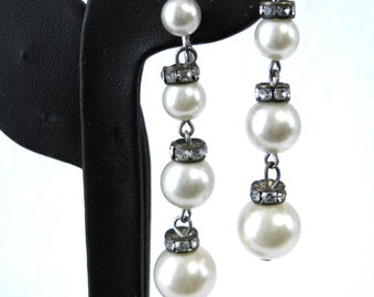 Rhinestone And Faux Pearl Dangle Earrings 1940s Glamour Wedding Prom Party Hollywood