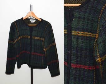 Vtg Brooks Brothers Wool Women's Sweater | Vintage Brooks Brothers Plaid Wool Sweater Cardigan